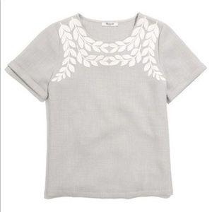 MADEWELL Ivy Embroidered Gray White Top M
